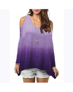 Bare Shoulder Loose Style Long Sleeve Women Top - Purple