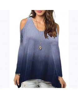 Bare Shoulder Loose Style Long Sleeve Women Top - Dark Blue
