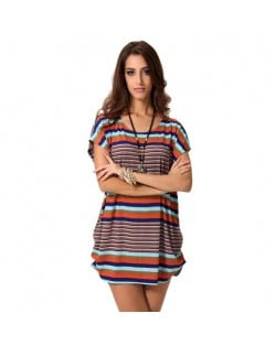 Contrast Colors Strips Design High Fashion Short Sleeves Women Top