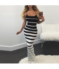 Graceful Stripes Prints High Fashion Sleeveless One-piece Women Long Dress - Black