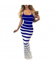 Graceful Stripes Prints High Fashion Sleeveless One-piece Women Long Dress - Blue