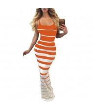 Graceful Stripes Prints High Fashion Sleeveless One-piece Women Long Dress - Orange