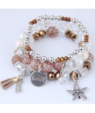 Starfish and Round Love Plate Pendants Multi-layer Beads Fashion Bracelet - Brown