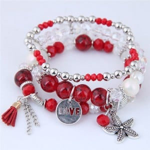 Starfish and Round Love Plate Pendants Multi-layer Beads Fashion Bracelet - Red