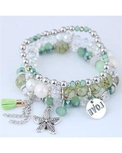 Starfish and Round Love Plate Pendants Multi-layer Beads Fashion Bracelet - Green