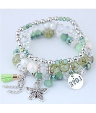 Starfish and Round Love Plate Pendants Multi-layer Beads Fashion Bracelet - Green