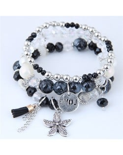 Starfish and Round Love Plate Pendants Multi-layer Beads Fashion Bracelet - Black