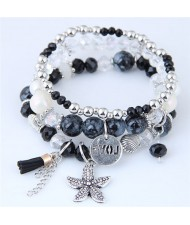 Starfish and Round Love Plate Pendants Multi-layer Beads Fashion Bracelet - Black