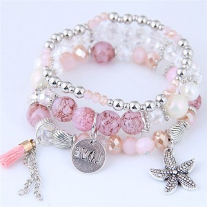Starfish and Round Love Plate Pendants Multi-layer Beads Fashion Bracelet - Pink