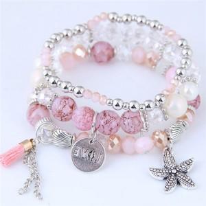 Starfish and Round Love Plate Pendants Multi-layer Beads Fashion Bracelet - Pink