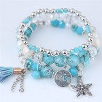 Starfish and Round Love Plate Pendants Multi-layer Beads Fashion Bracelet - Blue