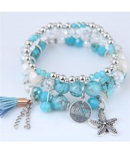 Starfish and Round Love Plate Pendants Multi-layer Beads Fashion Bracelet - Blue