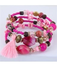 Stones and Beads Mix Design Bohemian Fashion Bracelet - Pink