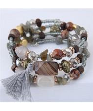 Stones and Beads Mix Design Bohemian Fashion Bracelet - Gray