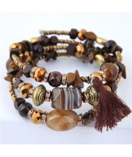 Stones and Beads Mix Design Bohemian Fashion Bracelet - Brown