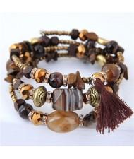 Stones and Beads Mix Design Bohemian Fashion Bracelet - Brown