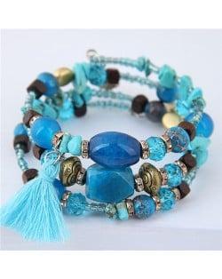 Stones and Beads Mix Design Bohemian Fashion Bracelet - Blue