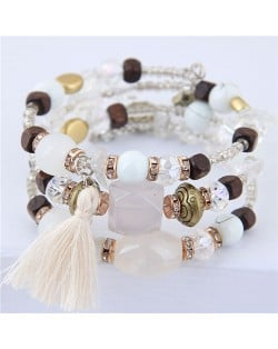 Stones and Beads Mix Design Bohemian Fashion Bracelet - White