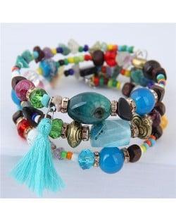 Stones and Beads Mix Design Bohemian Fashion Bracelet - Multicolor