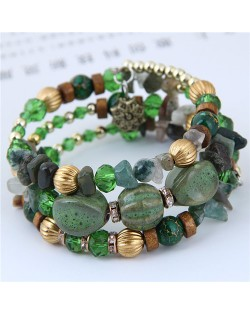 Assorted Beads and Stone Multi-layer Bohemian Fashion Bracelet - Green