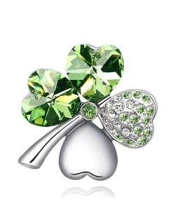 Austrian Crystal and Czech Stones Four Leaf Clover Brooch -  Olive