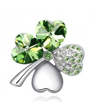 Austrian Crystal and Czech Stones Four Leaf Clover Brooch - Olive