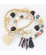 Leaf and Chain Tassel Design Triple Layers High Fashion Bracelet - Multicolor