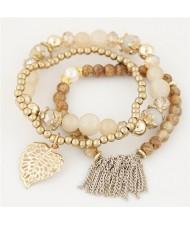 Leaf and Chain Tassel Design Triple Layers High Fashion Bracelet - Beige