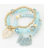 Leaf and Chain Tassel Design Triple Layers High Fashion Bracelet - Blue