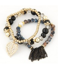 Leaf and Chain Tassel Design Triple Layers High Fashion Bracelet - Black