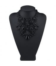 Assorted Flowers Cluster Combo Hollow Complex Design Chunky Costume Necklace - Black