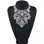 Assorted Flowers Cluster Combo Hollow Complex Design Chunky Costume Necklace - White