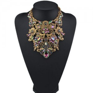 Assorted Flowers Cluster Combo Hollow Complex Design Chunky Costume Necklace - Golden