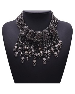 Punk Fashion Skulls Pendants Chunky Style Statement Necklace