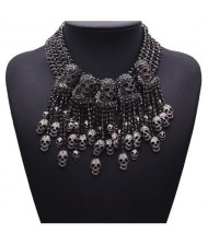 Punk Fashion Skulls Pendants Chunky Style Statement Necklace