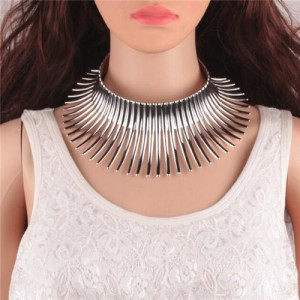 Bold Tribe Fashion Chunky Style Statement Necklet - Silver