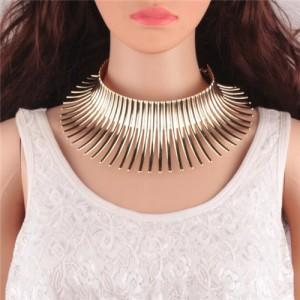 Bold Tribe Fashion Chunky Style Statement Necklet - Golden