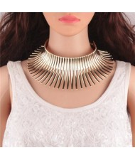 Bold Tribe Fashion Chunky Style Statement Necklet - Golden