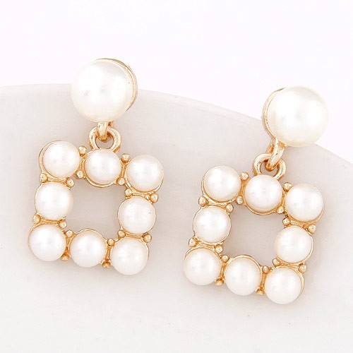 Korean Style Pearl Jointed Square Fashion Earrings Golden