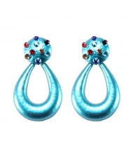 Multicolor Gems Embellished Painted Waterdrop Design High Fashion Earrings - Blue