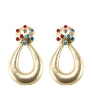 Multicolor Gems Embellished Painted Waterdrop Design High Fashion Earrings - Golden