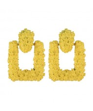 Coarse Studs Texture Geometric Square Design Women Costume Earrings - Yellow