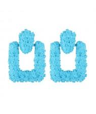Coarse Studs Texture Geometric Square Design Women Costume Earrings - Blue