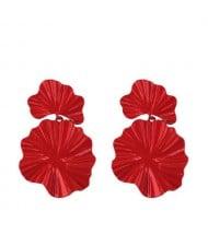 High Fashion Oil-spot Glazed Leaves Combo Design Dangling Alloy Women Statement Earrings - Red
