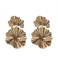 High Fashion Oil-spot Glazed Leaves Combo Design Dangling Alloy Women Statement Earrings - Golden