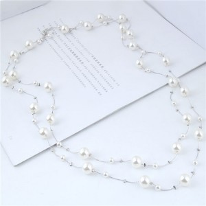 Pearl Embellished Korean Fashion Dual Layers Long Style Costume Necklace - Silver