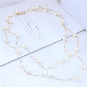 Pearl Embellished Korean Fashion Dual Layers Long Style Costume Necklace - Golden