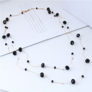 Crystal Beads Decorated Dual Layers Long Fashion Women Statement Necklace - Black