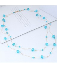 Crystal Beads Decorated Dual Layers Long Fashion Women Statement Necklace - Blue