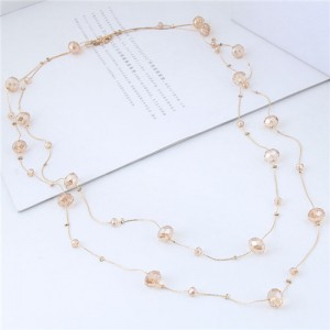 Crystal Beads Decorated Dual Layers Long Fashion Women Statement Necklace - Champagne